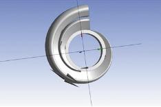 Рис. 6. Эскиз скруглений переменного радиуса для тел, описывающих спираль и переводной канал