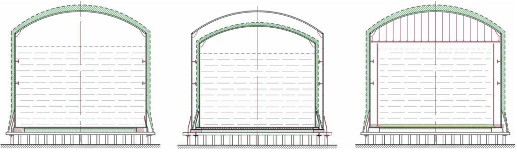 Рис. 1. Основные виды конструкций вертикальных изотермических резервуаров (ИР) для хранения сжиженных газов: а – одностенный ИР; б – двустенный ИР с двумя купольными крышами; в – двустенный ИР с подвесной крышей внутреннего резервуара