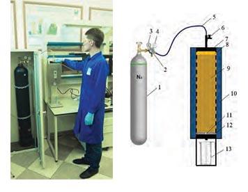 Рис. 3. Модернизированный фильтр-пресс, моделирующий воздействие блокирующей жидкости глушения на трещину: 1 – газовый баллон; 2 – редуктор; 3 – манометр (давление в баллоне); 4 – манометр (давление в линии); 5 – газовая линия (подача газа); 6 – верхний клапан (откр./закр.); 7 – верхняя заглушка; 8 – газ; 9 – блокирующий состав; 10 – терморубашка; 11 – трещина; 12 – металлический диск с трещиной; 13 – мерный цилиндр
