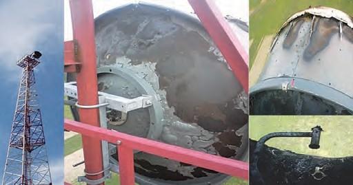 Рис. 1. Фотографии антенн после попадания в них молнии