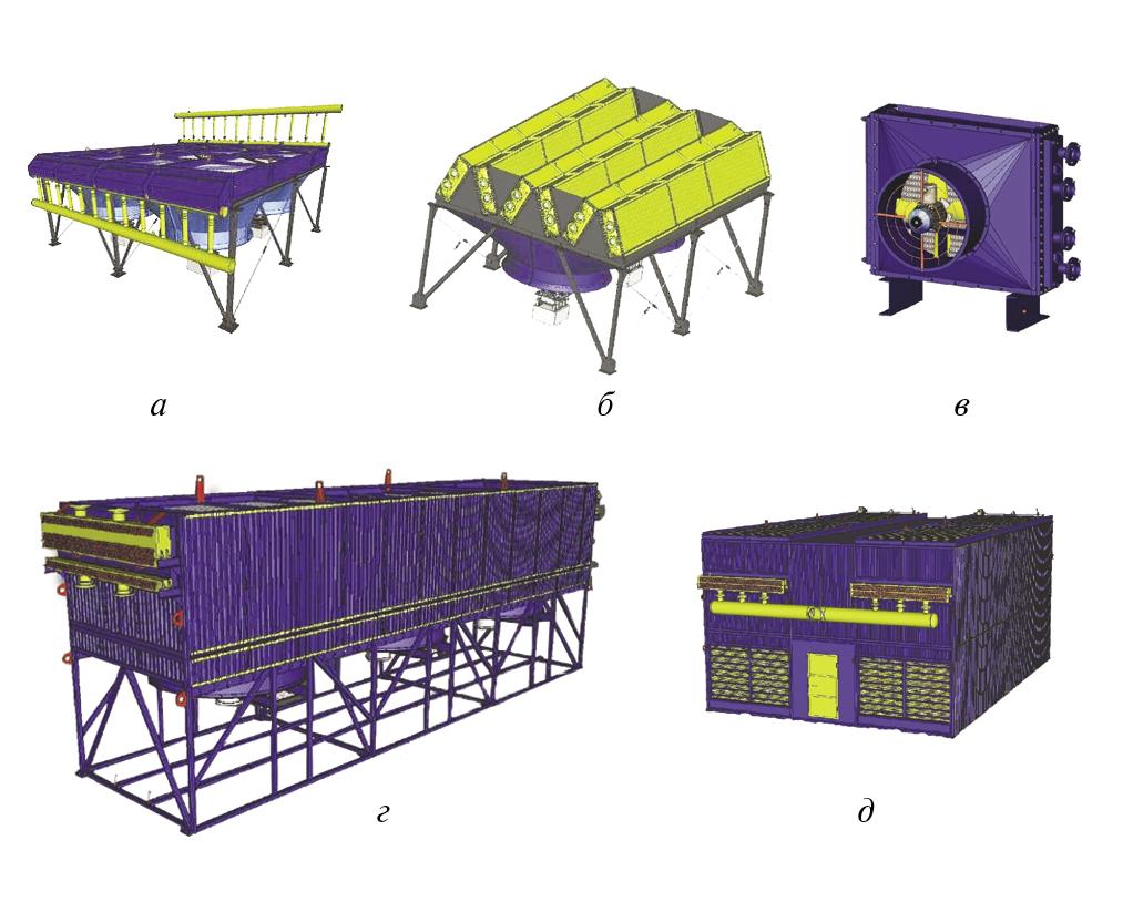 Рис. 2. Варианты конструктивной компоновки АВО газа: а – горизонтальные АВГ; б – зигзагообразные АВЗ; в – малопоточные АВМ; г – блочно-модульные АВО; д – АВО с рециркуляцией нагретого воздуха