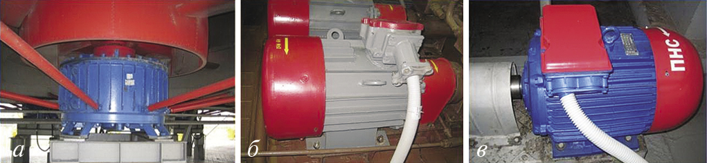 Рис. 1. Общий вид асинхронных электродвигателей: а – двигатель ВАСО16-14-24 вентилятора АВОГ; б – двигатель ВАО82-2У2, 55 кВт (НУ); в – двигатель 5А200М2УПУ3, 37 кВт (ПНС)